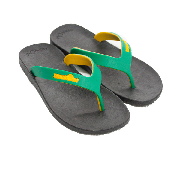 Kids Flippers Black x Green & Yellow