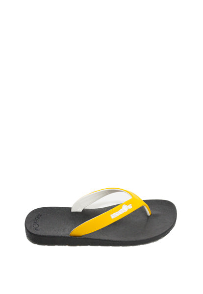 Kids Flippers Black x Yellow & White