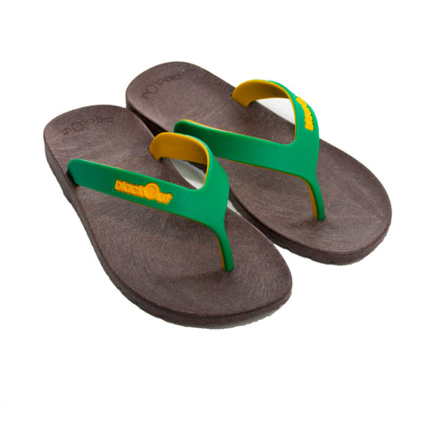 Kids Flippers Brown x Green & Yellow