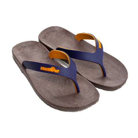 Kids Flippers Brown x Navy Blue & Mustard