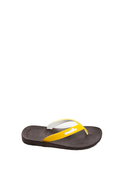 Kids Flippers Brown x Yellow & White