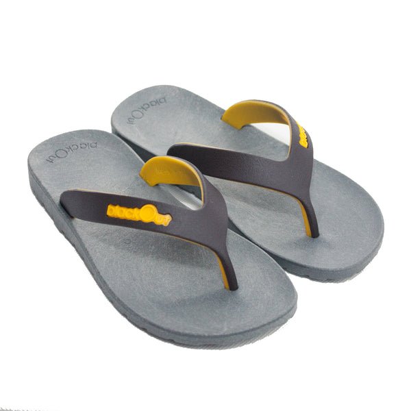 Kids Flippers Grey x Brown & Yellow