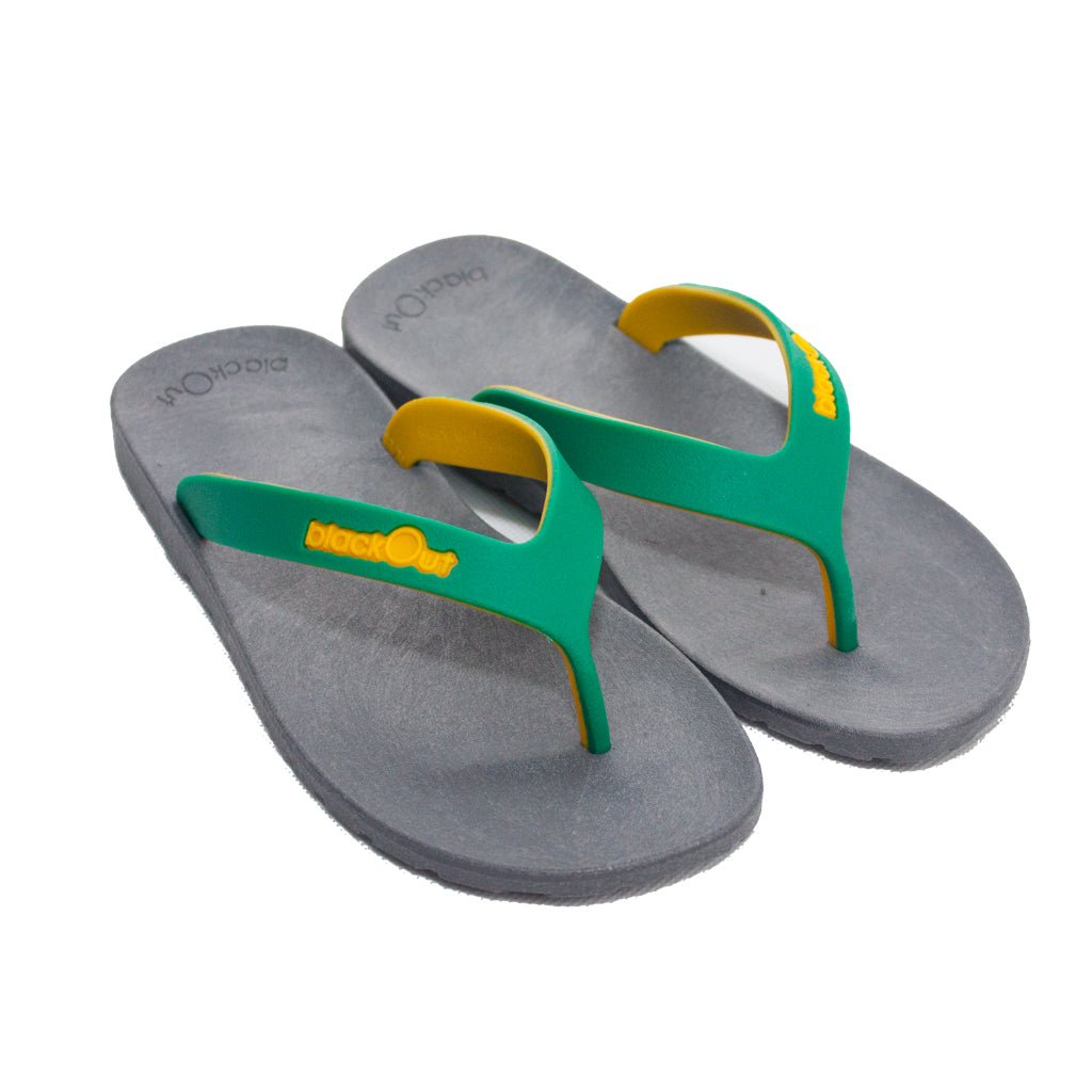 Kids Flippers Grey x Green & Yellow