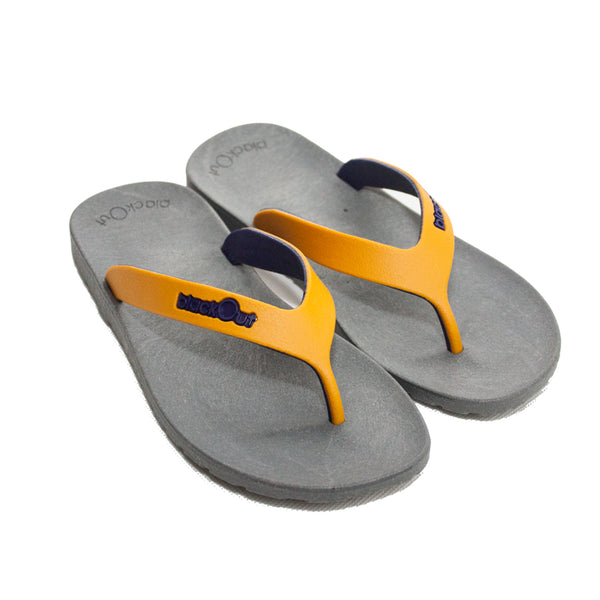 Kids Flippers Grey x Mustard & Navy Blue