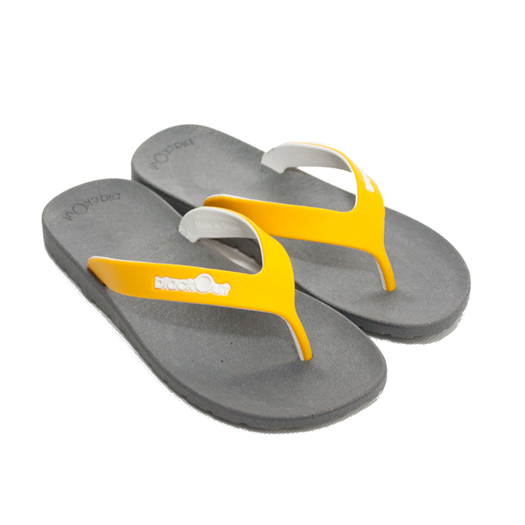 Kids Flippers Grey x Yellow & White