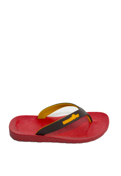 Kids Flippers Red x Brown & Yellow