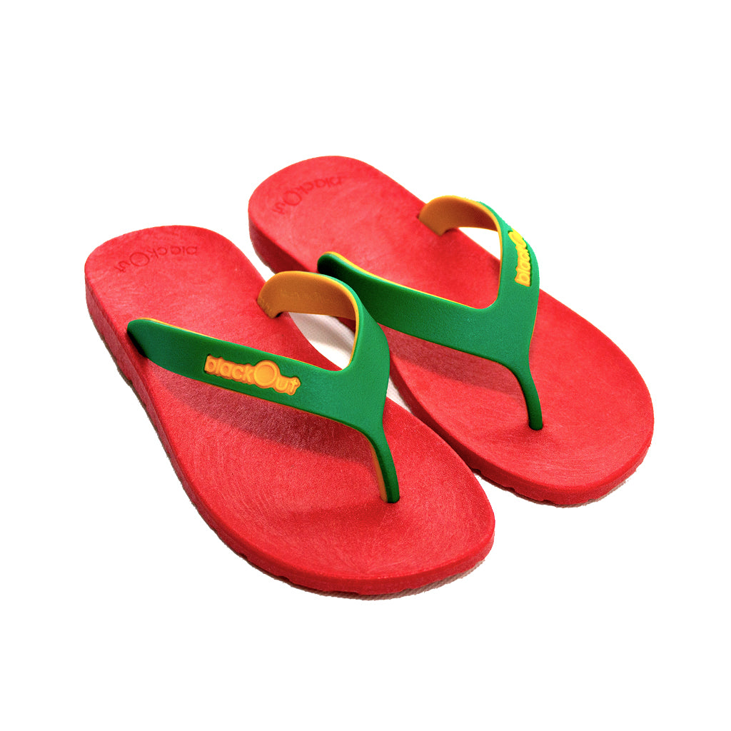 Kids Flippers Red x Green & Yellow