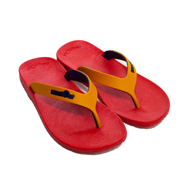 Kids Flippers Red x Mustard & Navy Blue
