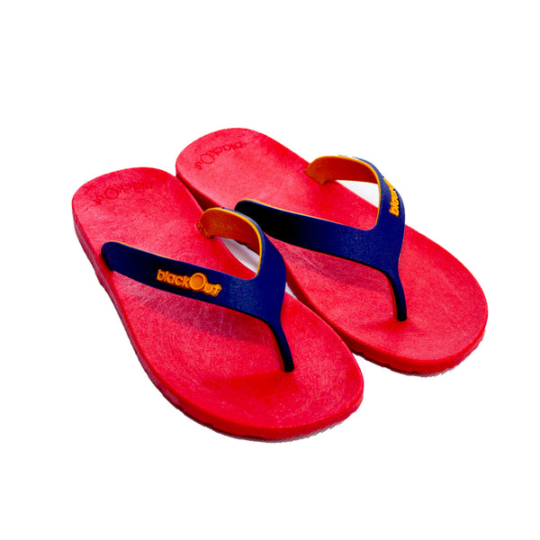 Kids Flippers Red x Navy & Mustard