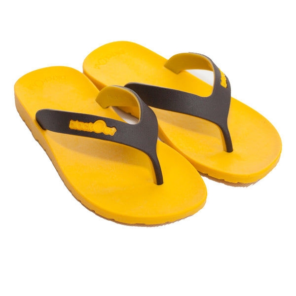 Kids Flippers Yellow x Brown & Yellow