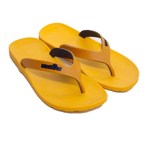 Kids Flippers Yellow Mustard x Navy Blue
