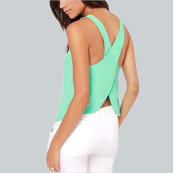 Cross Back Chiffon Blouse-Tank top-Mulu