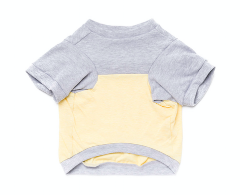 Colorblock Pup Shirt - Grey + Yellow
