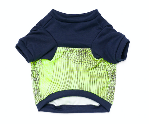 Colorblock Pup Shirt - Navy Neon