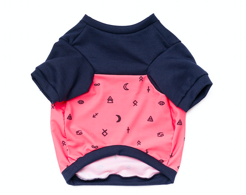 Colorblock Pup Shirt - Navy + Pink