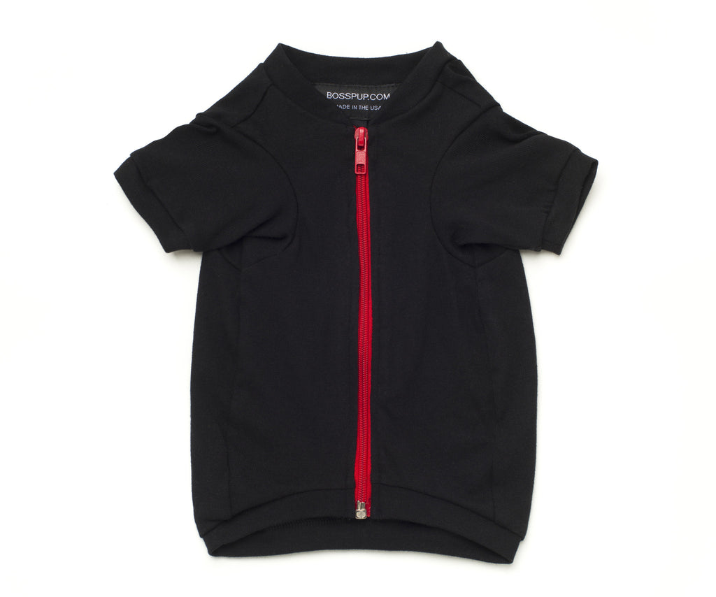 Zip Up Jacket - Black + Red - BOSSPUP