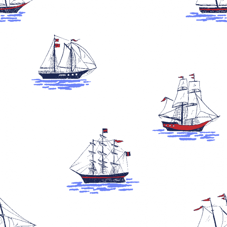 Best Of Sarah Jane Sailboats Blue ~ Cotton Woven