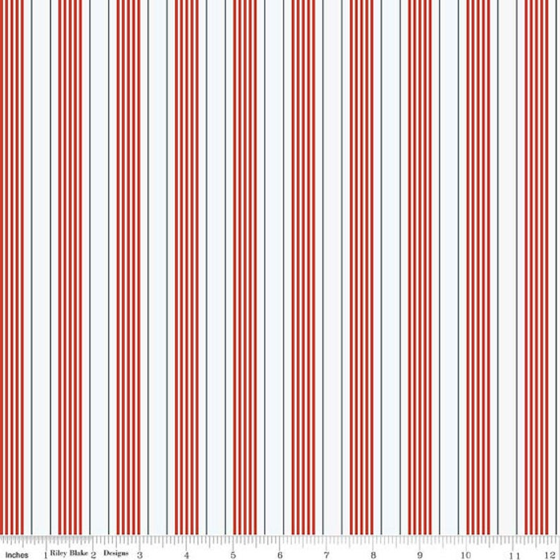By The Sea Red Stripes ~ Cotton Woven
