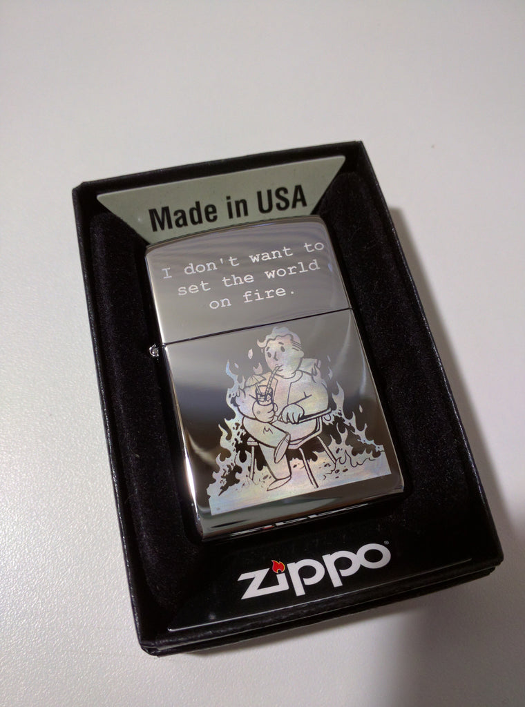 Fallout Vault Boy Fire Perk Classic Chrome Zippo Lighter