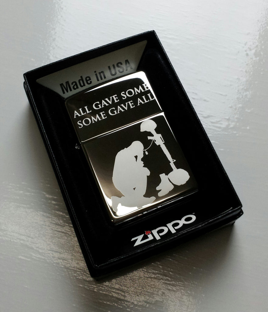Battlefield Cross Soldier Memorial Classic Chrome Zippo Lighter