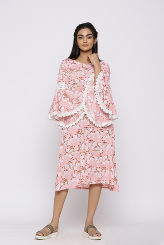 BLUSH PINK FLORAL PRINTED DRESS WITH BELL SLEEVES