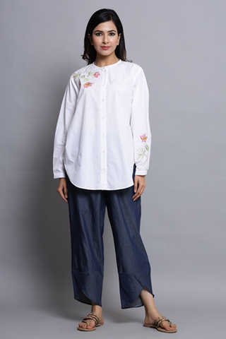 Buy WHITE COTTON SHIRT WITH EMBROIDERY Online