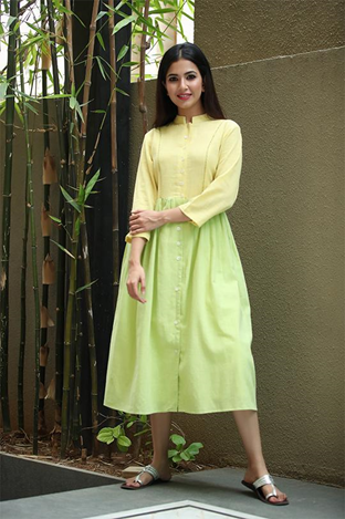 Buy light green and yellow color cotton dress Online