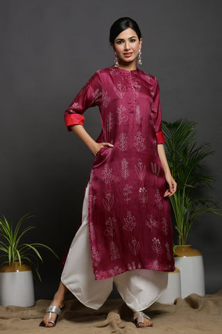 SILK STRAIGHT KURTA