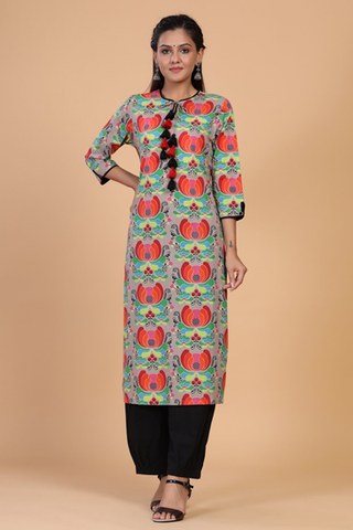 buy multicolored floral printed cotton Kurti online