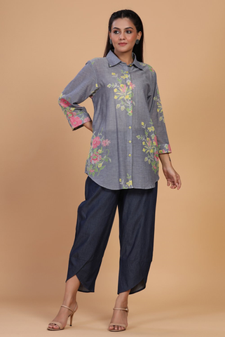 Grey colour 100% cotton tunic with floral print with tulip pants