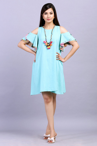 sea green solid sway and flare dress Online