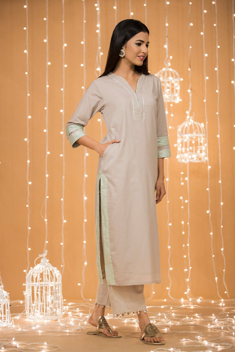 GREY GOTA COTTON KURTA