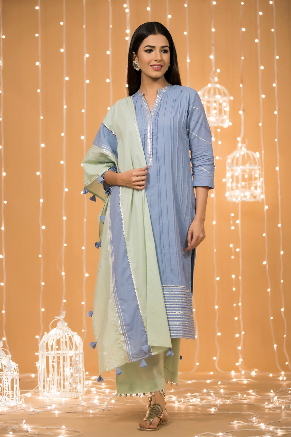 BLUE GOTA COTTON KURTA WITH BOTTOM & DUPATTA