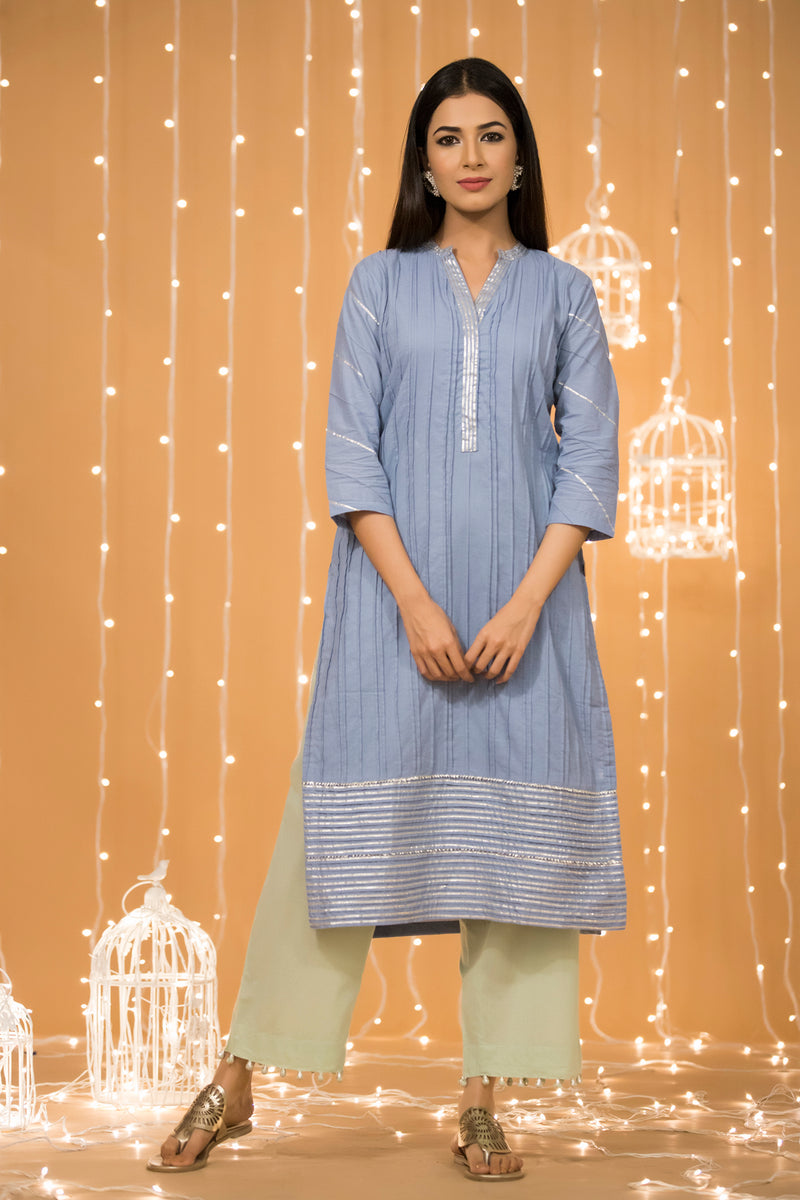 BLUE GOTA COTTON KURTA