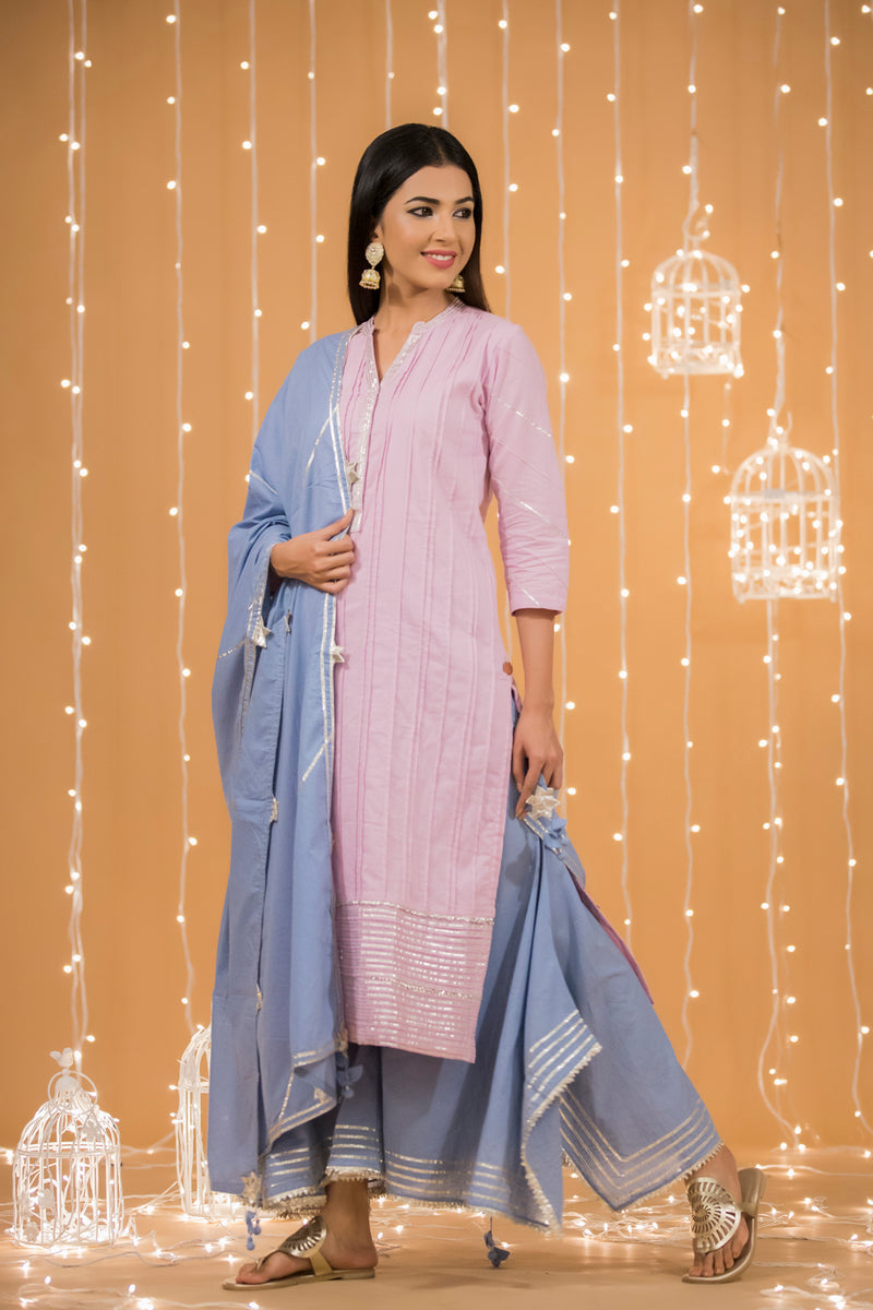 PINK GOTA COTTON KURTA