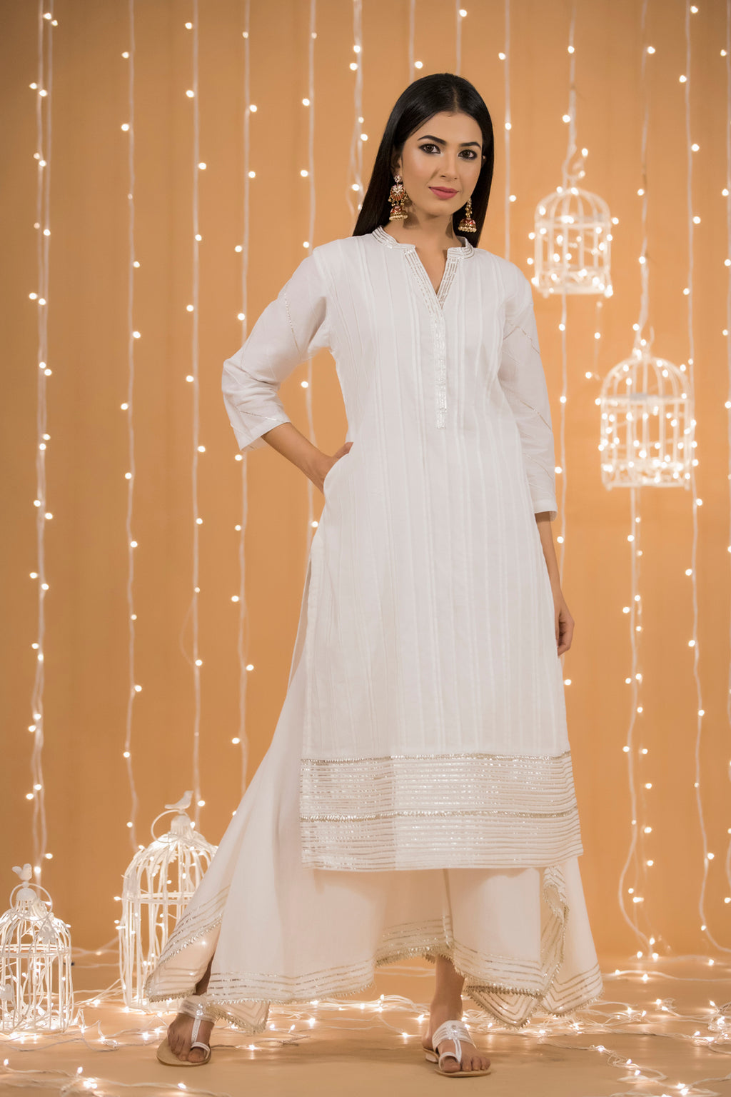 WHITE GOTA COTTON KURTA