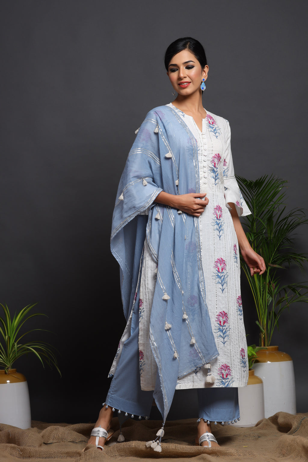 PRINTED GOTA COTTON KURTA WITH BOTTOM & DUPATTA