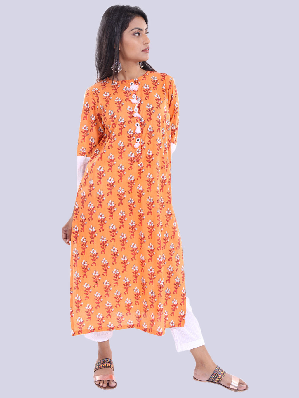 ORANGE STRAIGHT KURTA