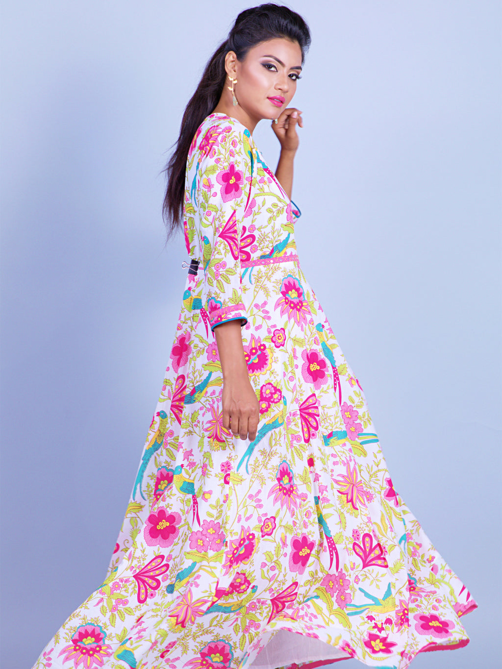 FLORAL PRINTED A LINE DRESS