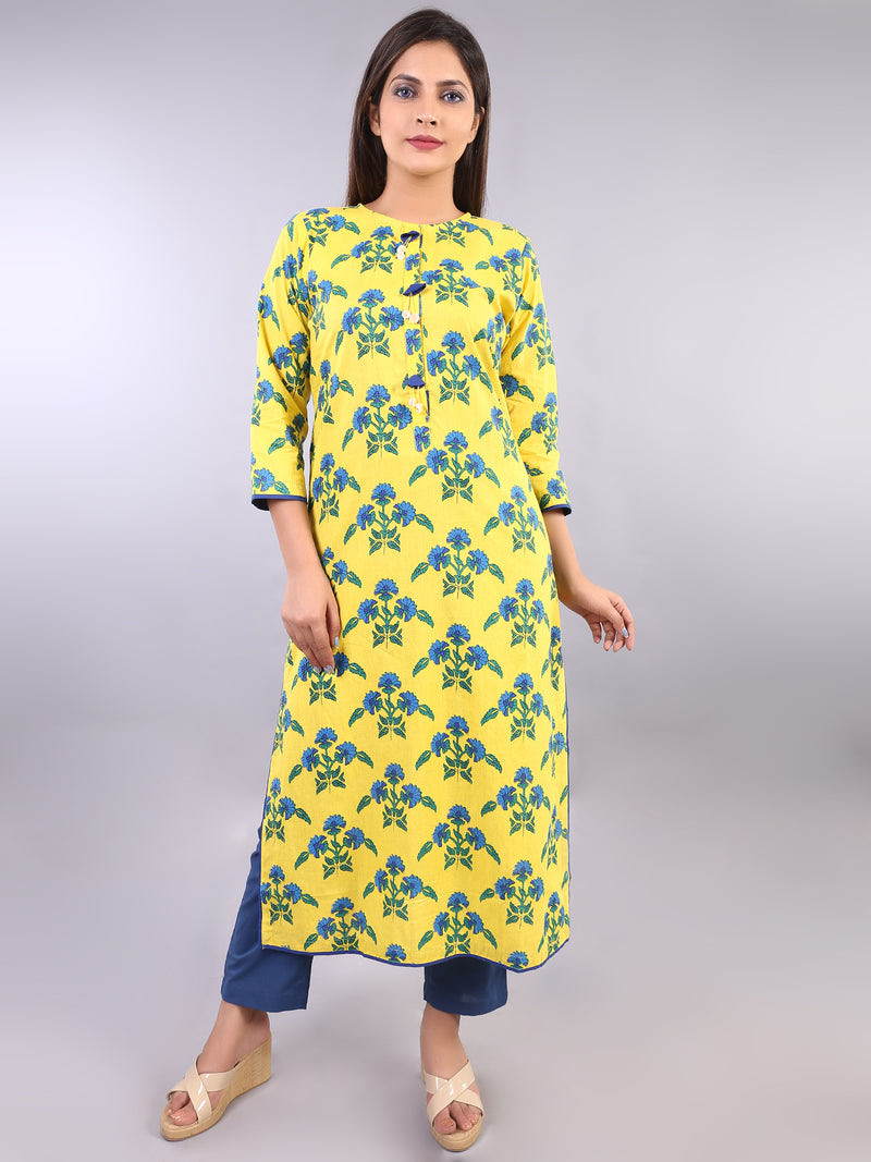 YELLOW STRAIGHT KURTA