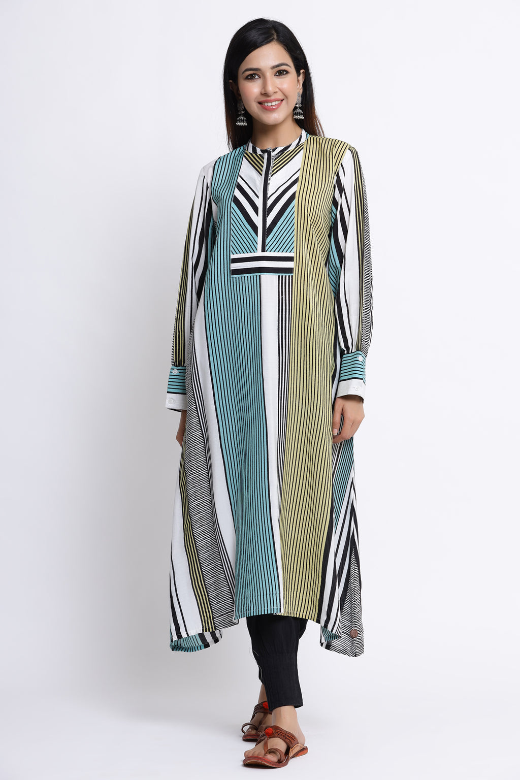 WOMEN MULTICOLOURED STRIPED A LINE KURTA