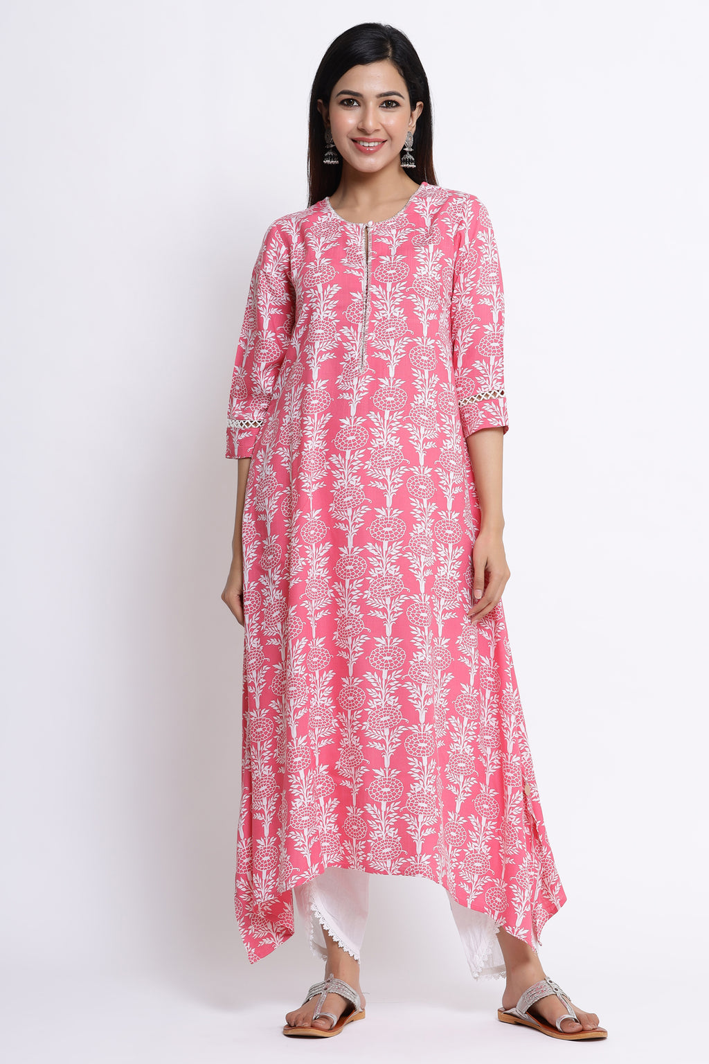 PINK COLOUR ASYMMETRICAL FLORAL PRINTED KURTA