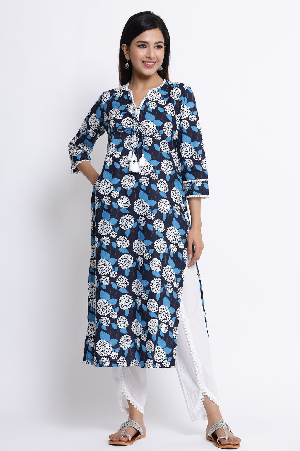 BLUE FLORAL PRINTED COTTON STRAIGHT KURTA