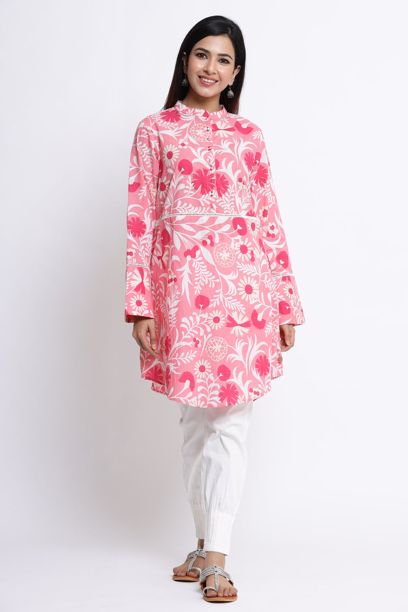 PINK TUNIC WITH LACE DETAILING IN COTTON FABRIC