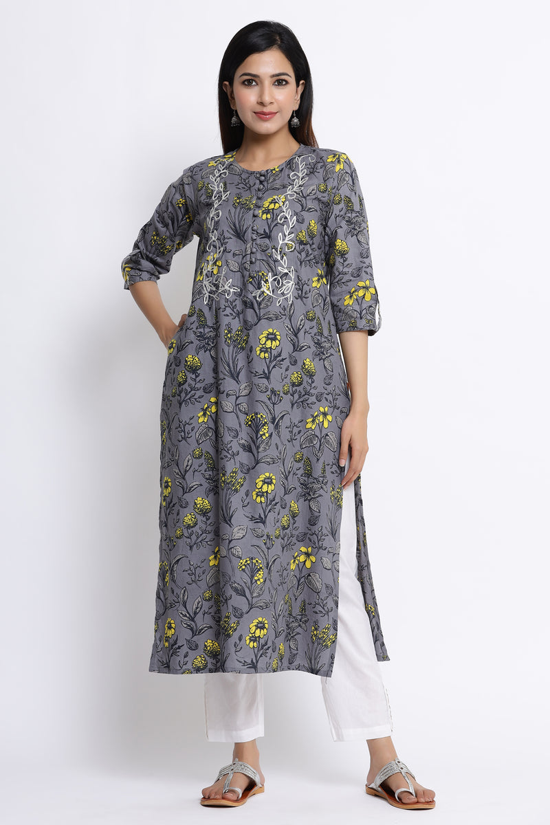 GREY COLOUR COTTON KURTA WITH GOTA DETAILING