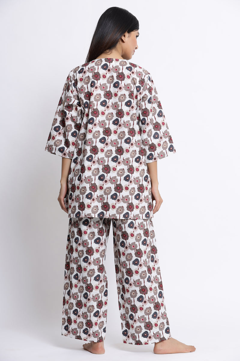 FLORAL PRINTED COTTON NIGHTWEAR PYJAMA SET
