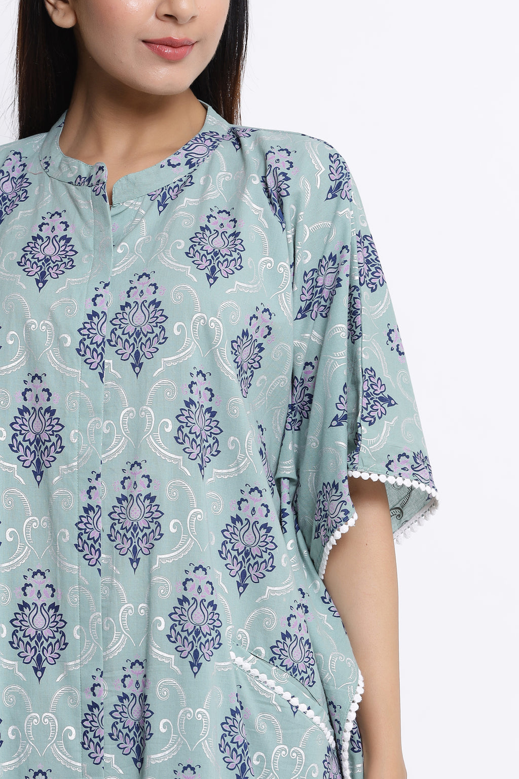 COTTON FRONT OPEN KAFTAN IN POWDER BLUE COLOUR