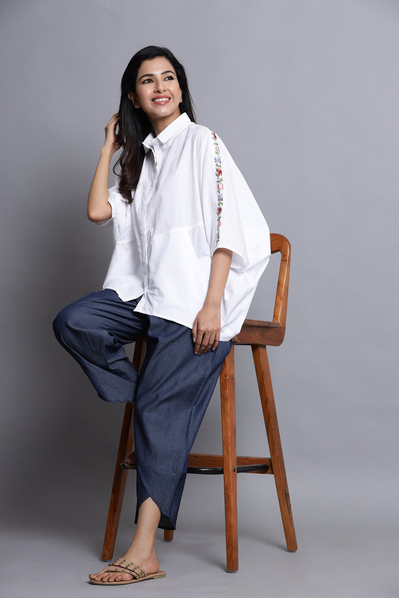 ELEGANT WHITE COTTON SHIRT IN DOLMAN SLEEVE