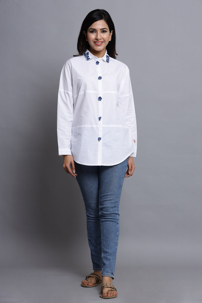 WHITE COTTON EMBELLISHED SHIRT