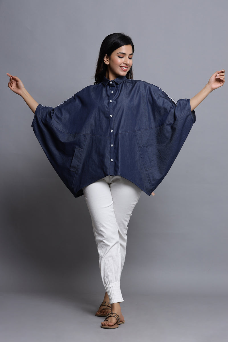 ELEGANT DENIM SHIRT IN DOLMAN SLEEVE